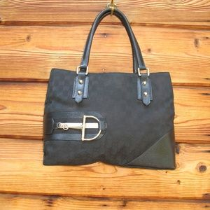 Gucci GG Canvas and Leather Horsebit Tote Bag